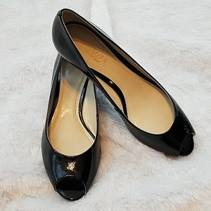 Talbots peep toe wedge patent leather shoes